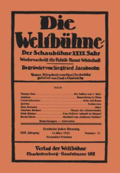 Umschlag Weltbühne 1933