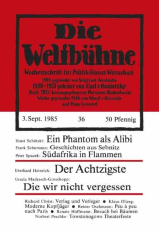 Umschlag Weltbühne 1985
